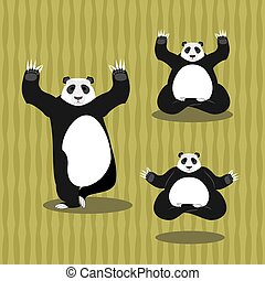 Panda Yoga meditating. Chinese bear on background of bamboo. Status of nirvana and enlightenment. Lotus Pose. Wild Animal