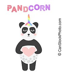 Pandacorn. Cute panda with a unicorn horn in the color of the rainbow. illustration in the Scandinavian style.