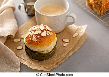 Pandan kaya roti bun, sweet coconut bun served for breakfast