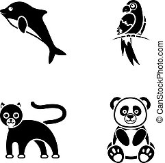 Panda.popugay, panther, dolphin.Animal set collection icons in black style vector symbol stock illustration web.