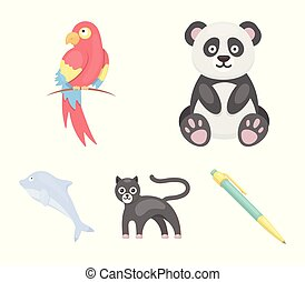 Panda.popugay, panther, dolphin.Animal set collection icons in cartoon style vector symbol stock illustration web.