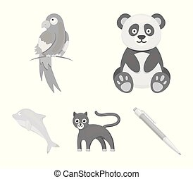 Panda.popugay, panther, dolphin.Animal set collection icons in monochrome style vector symbol stock illustration web.