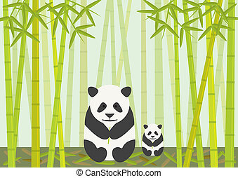 Pandas Eating Bamboo - Two Pandas, an adult and a cub eating...