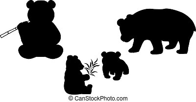 Pandas family. Silhouettes of animals