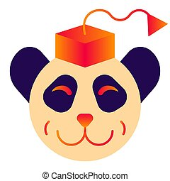 Panda's head in a square academic cap. Merry logo in warm colors with gradients on a white background. Vector.