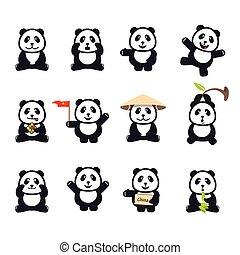 pandas, rigolote, ensemble, dessin animé, mignon