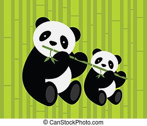 pandas., vettore, due, illustration.