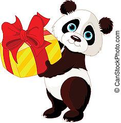 Panda%u2019s birthday - Illustration of cute Panda who got...