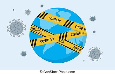 pandemic, 上に, 障壁, covid-19, ベクトル, テープ, 株, ウイルス, world., ...