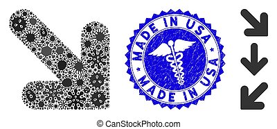 Pandemic Collage Arrow Down Right Icon with Healthcare Distress Made in USA Stamp