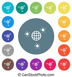 Pandemic flat white icons on round color backgrounds