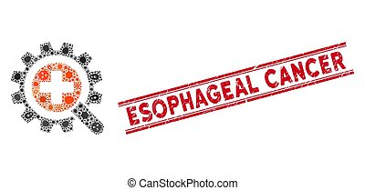 Contagious mosaic find medical technology icon and red Esophageal Cancer seal between double parallel lines.