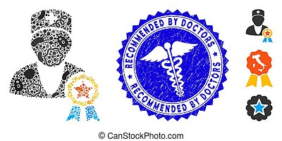 Pandemic Mosaic Recommended by Doctors Icon with Medicine Grunge Recommended by Doctors Stamp