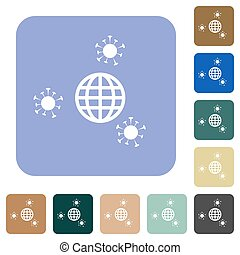 Pandemic rounded square flat icons