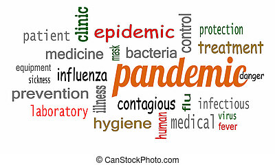 Pandemic word in cloud concept with white background