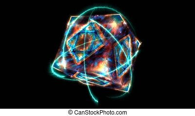 pandora eternal magic flame cube empty core energy surface and fast release ancient energy with surface and atom moving by eternity bolt energy