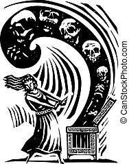 Pandora's Box - Woodcut style expressionist image of the...