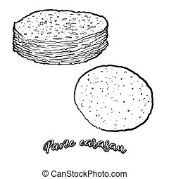 Pane carasau food sketch separated on white. Vector drawing ...