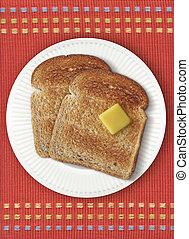 pane tostato, arancia, placemat