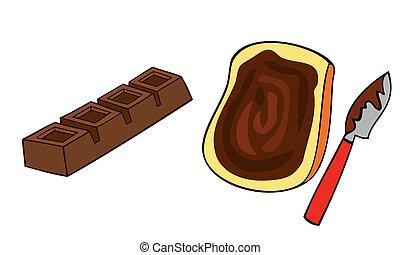 pane tostato, cioccolato, fetta, bread, programmazione strutturata