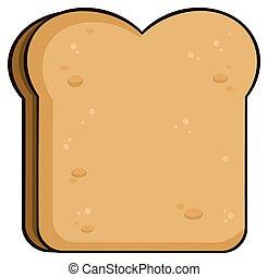 pane tostato, fetta, cartone animato, bread