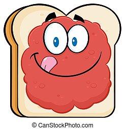 pane tostato, marmellata, fetta, bread