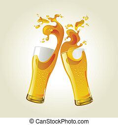 pane tostato, paio, bicchieri birra, fabbricazione