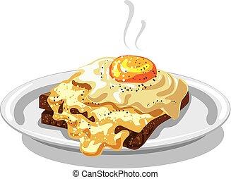 pane tostato, uova