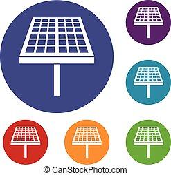 paneel, energie, set, zonne, iconen