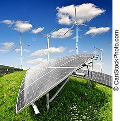 panel énergie solaires, à, vent, turbi
