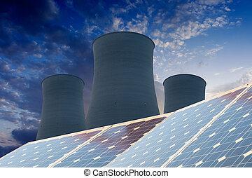 panel énergie solaires, avant, a, centrale nucléaire