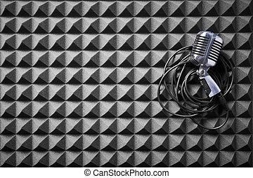 panel, acostado, plano de fondo, espuma, micrófono, acústico...