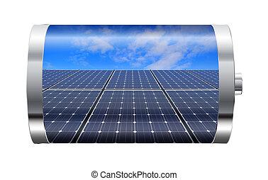 panel, batteri, sol