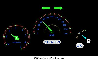 Panel board vehicle. Speed and drive, auto sign, speedometer car, board and traffic, indicator and number. Vector graphic illustration