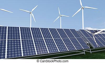 panel, campo, presentación, animación, photovoltaic