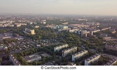 Soviet Union city panorama from sky - Panel concrete houses typical blocks city with park, hospital, village, aerial view Samara, Russia
