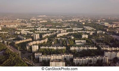 Soviet Union eastern europe typical city panorama from sky - panel concrete houses blocks , industrial power plant, commercial