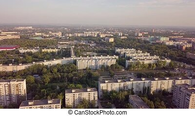 Panel city aerial - Soviet Union eatern europe typical city...