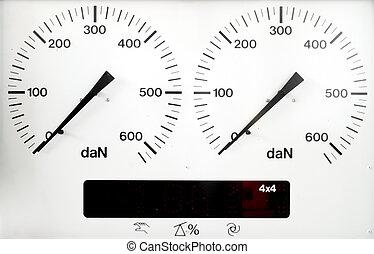 panel control meter of car braking test