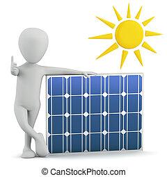 panel., gens, -, solaire, petit, 3d