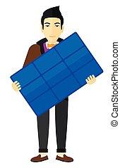 panel., homme, tenue, solaire