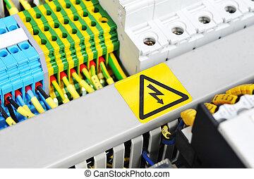 panel, med, elektrisk utrustning
