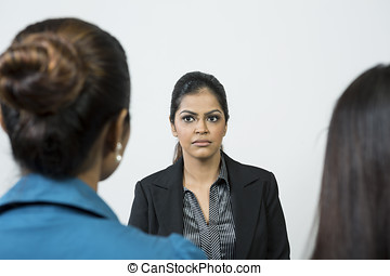 Panel of colleagues interview applicant