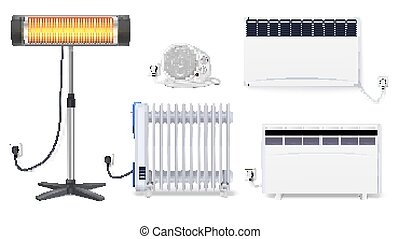 Panel of radiator, electric oil radiator, heater with fan, quartz halogen heater with the glowing lamp. Appliances for space heating in the interior of room. Set icons with plug on white background