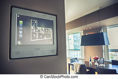 panel, para, mandón, hogar, luz, y, aparato