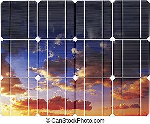 panel., reflexão, energia, céu, pôr do sol, solar