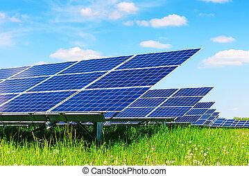 panel solar, en, cielo azul, plano de fondo