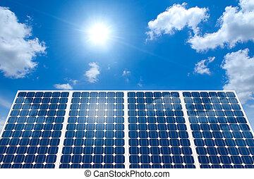 panel solar, y, el, sol