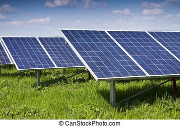 panel solar, y, energía renovable