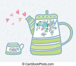panela chá, copo, e, amor, símbolos, fundo, ilustração